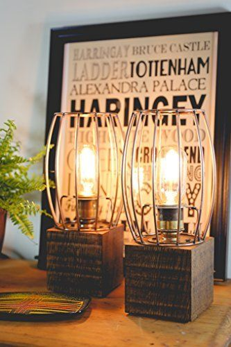 A Pair of Chunky Jacobean Dark Oak Table Lamps with Vintage Bulb and Copper Look Cage