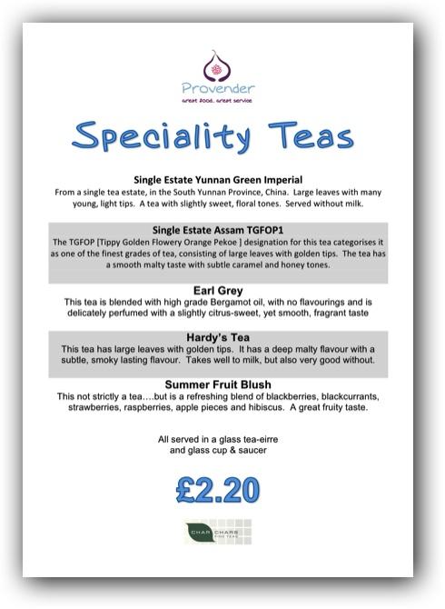 Provender Special Tea Menu