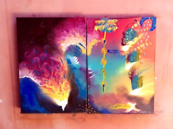 Título: sueños fulminantes  Autor: luz Esther Monsalve  Técnica: óleo sobre lienzo  Dimensión: diptico de 50 x 35  Año: 2014