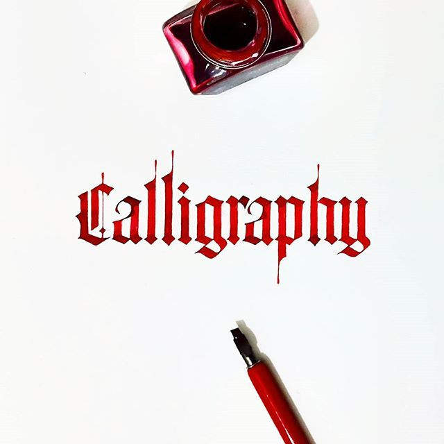 This is a Gothic calligraphy, used in medieval times by the writers by Tolga Girgin.