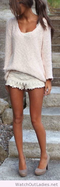 White lace short skirt, light pink sweater adorable heels