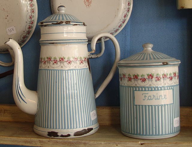 Vintage French Enamel Canister & Coffee Pot