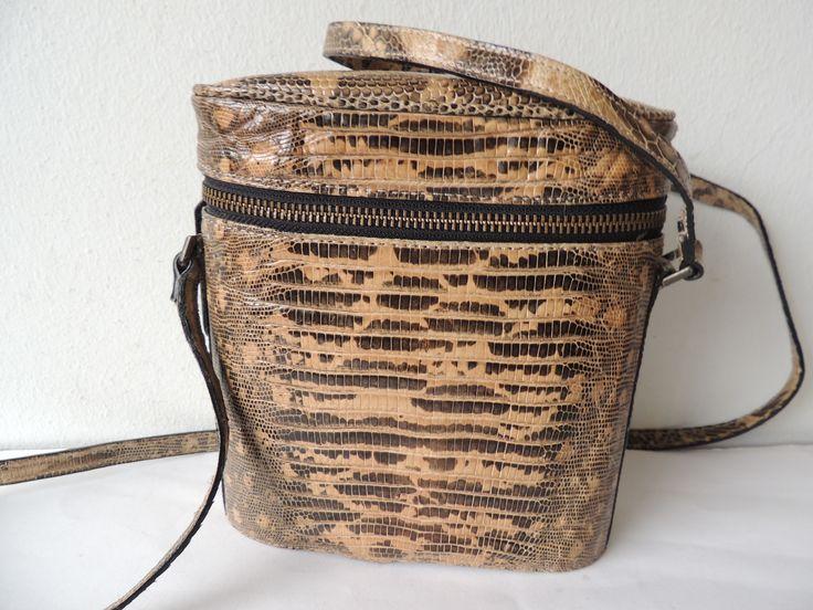 Merveilleux sac de Jil Sander, années 80, en lézard teju, chez giovintage.dom/cocktail bags
