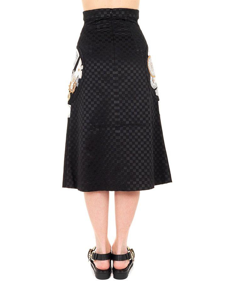 YOHANIX Black flared skirt high waist silk inserts with metal decorations  back zipper closure 58% CO 2% SE 40% Spandex