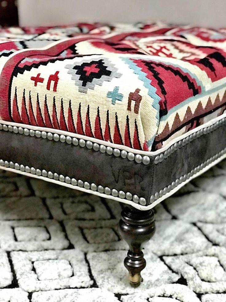 Sold Western Rustic ottoman | Etsy