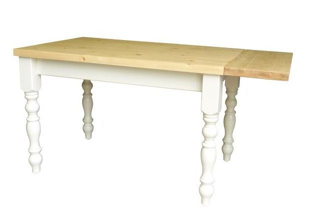 Beautifully hand made extending pine table with painted legs and skirt.