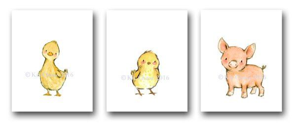 Baby Nursery Art Farm Friends SET OF 3 Duck by trafalgarssquare