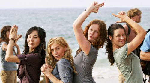 LOST ladies! Yunjin Kim (Sun), Elizabeth Mitchell (Juliet), Rebecca Mader (Charlotte) and Evangeline Lilly (Kate).