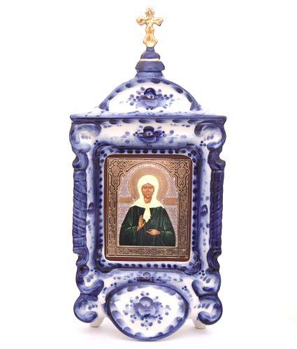 Russian Gzhel icon Saint Matrona http://www.artshop-rus.com/products/gzhel/pravoslavnaya-gzhel