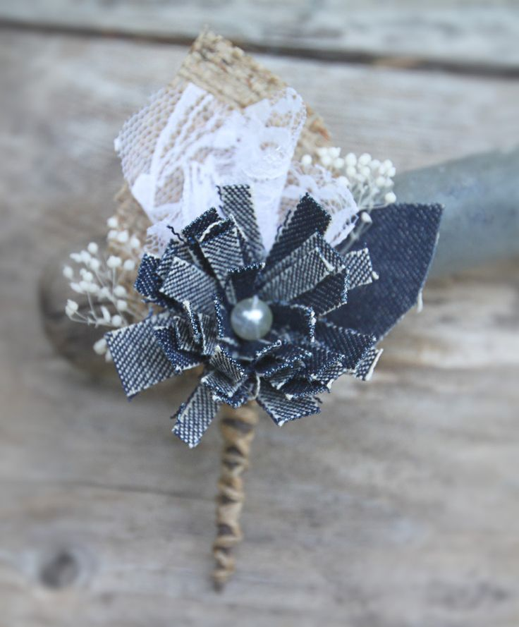 Denim, Lace, and Burlap Boutonniere. Perfect for casual weddings. By Luxe & Luster.