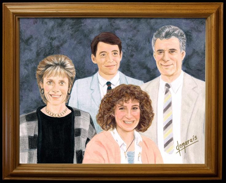 the buellers by kirk demarais. now showing at gallery 1988 in venice, caFerris Bueller, Bueller Families, Venice Beach, Family Portraits, Kirk Demarai, Colors Pencil Drawing, Kirkdemarai, Families Portraits, Man Caves