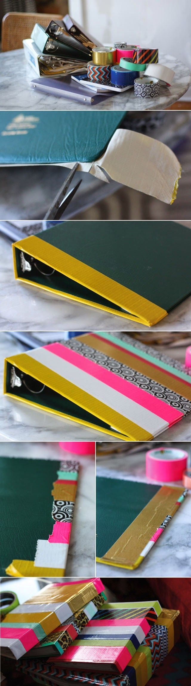 School Supply Makeover Using Washi Tape