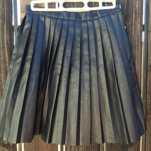 h m pleated black faux leather skirt shopping faux