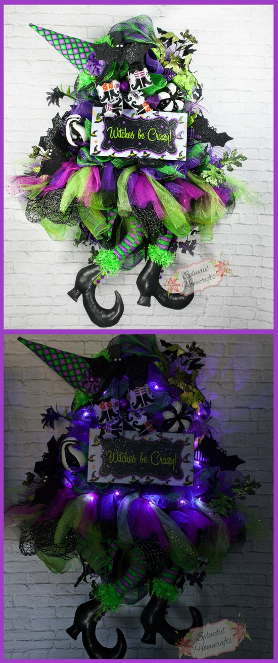 Witch Door Swag, Light up Halloween Witch Wreath, Halloween Door Swag, Witch Wreath, Witch Legs Wreath, Witch Hat Wreath, Witch Mesh Wreath by Splendid Homecrafts on Etsy