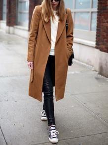 Camel Long Sleeve Lapel Pockets Coat