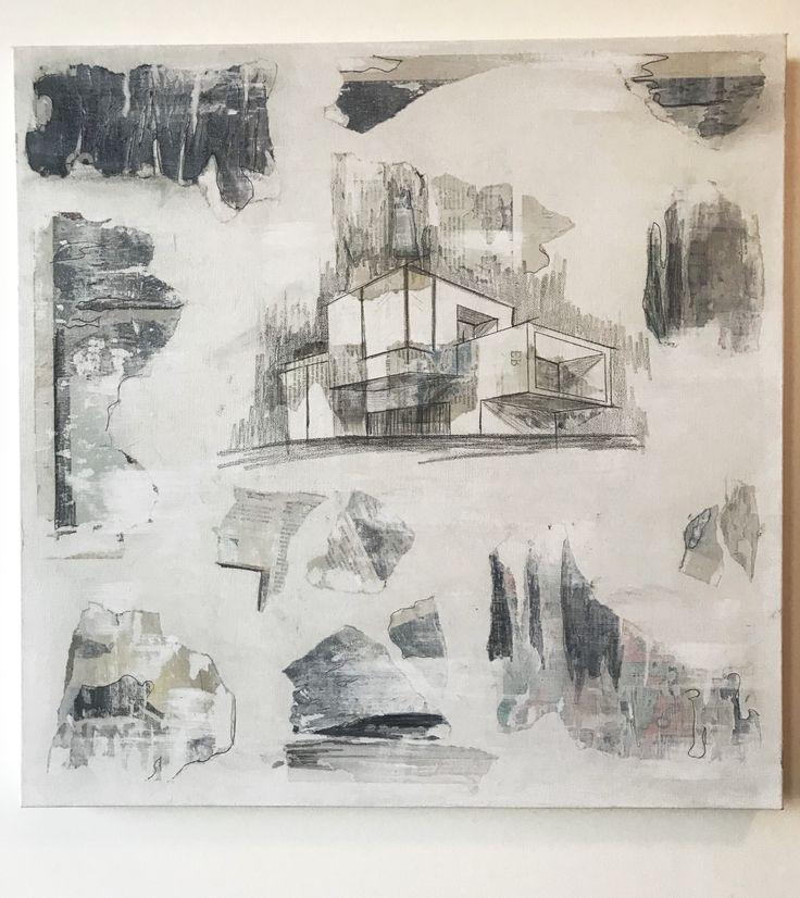 O A K D E N E White/ Blue/ Pencil #art #contemporary #sketch #architecture #decor