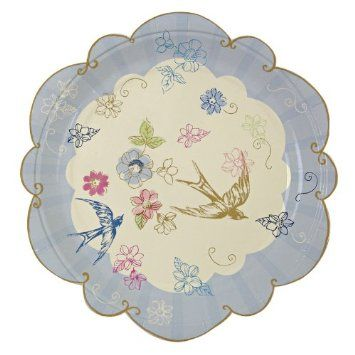 """Love in the Afternoon Floral and Flying Swallows Design 7"""" Paper Plates x12: Amazon.co.uk: Kitchen & Home"""