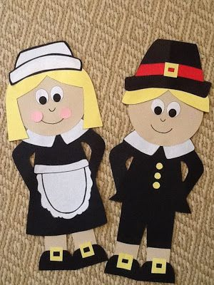Adorable Pilgrim Crafts! The link takes you to a site that you pay for the template.  I am cheap so I just enlarged this picture and cute out the pieces after drawing them free handed.  They turned out really cute and E loved doing it.  I just let her see the pic and she put them together herself!