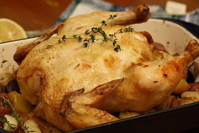 Greek-Style Roasted Chicken with Potatoes - This is good!!