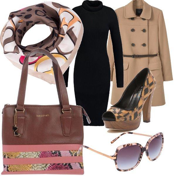 Pensata per tutte le donne in carriera, con cappotto Mango che fa da cornice e degli splendidi accessori come complemento come il taccone a rocchetto legno e tomaia multicolor, il Guess Foulard - brown, la borsa a spalla Lollipops, gli occhiali da sole Kors...tres chic.