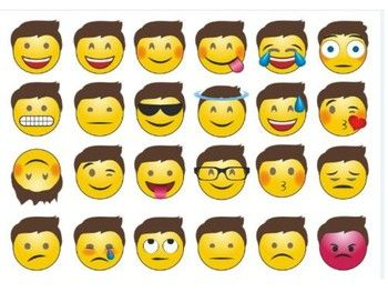 """The size of this emoji poster is 8 1/2"""" x 11"""". Print out regular size or blow up, laminate and hang on your wall when you're teaching your VIPKIDS or cut out each emoji and use as you like, to teach expressions."""