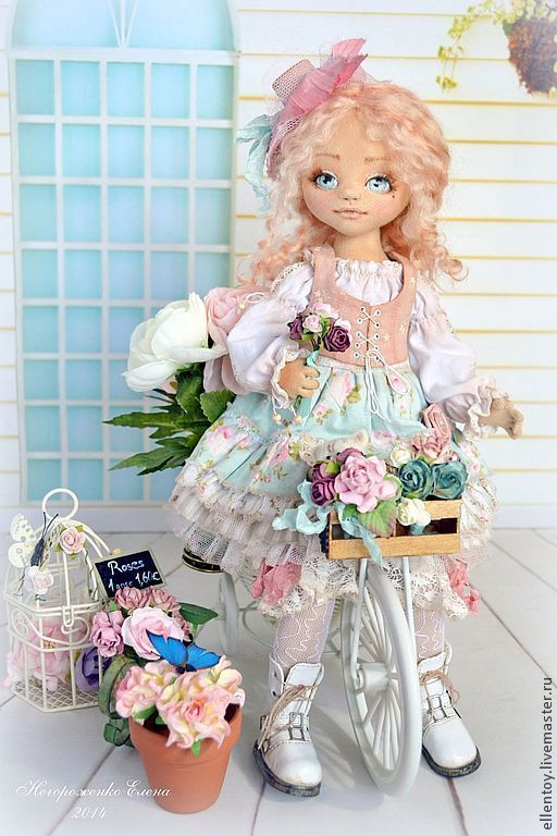 Купить Вивьен, текстильная кукла - бледно-розовый, кремовый, цвет пыльной розы, мятный, белый