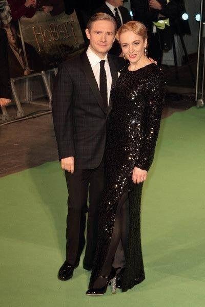Martin Freeman (Bilbo) & his wife at The Hobbit premier