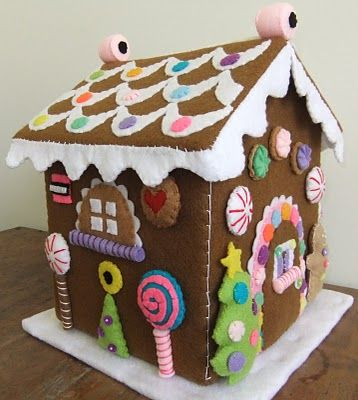 Felt Gingerbread House. This would make a cute toy or advent calendar too. You could add a decoration every day.