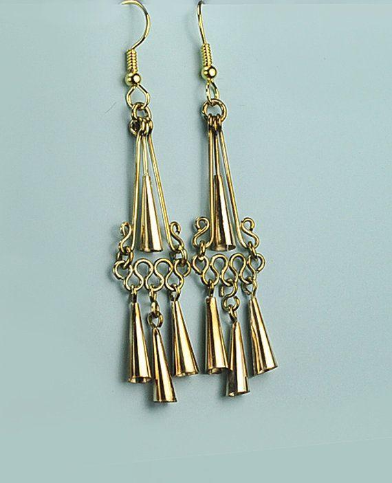 Festival Earrings Gypsy Boho Earrings Brass by BOBOJewelryShop
