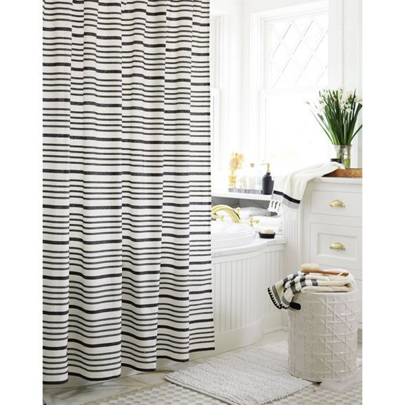 Striped Shower Curtain Black White Threshold In 2020 Striped Shower Curtains Black Curtains White Shower Curtain