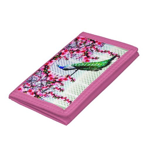 http://www.zazzle.com.au/peacock_cherry_blossoms_and_lattice-256646000322680831?rf=238523064604734277 Peacock Cherry Blossoms And Lattice Wallet - This wallet features a peacock perching on a cherry blossom branch in front of a lattice wall.