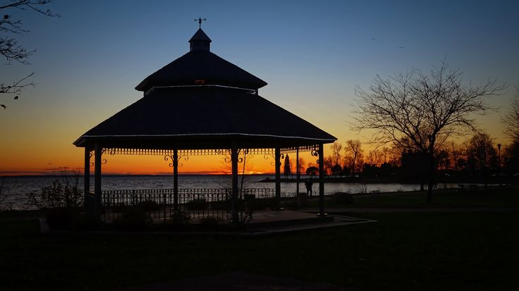 Gazebo - Gazebo - a roofed structure that offers an open view of the surrounding area, sometimes octagonal or turret-shaped, typically used for relaxation or entertainment, often built in a park.   Well, I think that I have found one ...