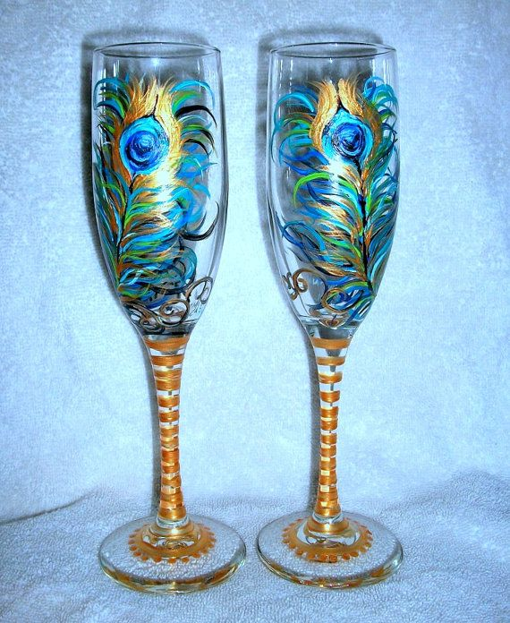 Handpainted Champagne Flutes  Hand Painted by SharonsCustomArtwork, $40.00