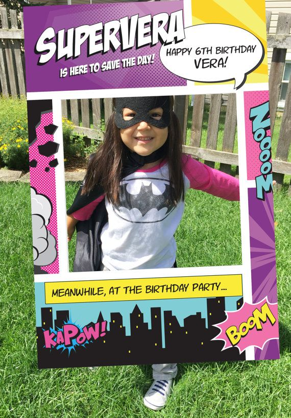Superhero Girl Theme Photo Booth. Party Prop Frame. by Imajenit