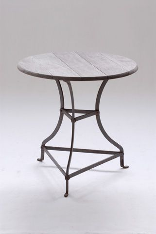 Cafe Table with Natural Timber Top and Rust Finish Frame Base - Inside Out Home Boutique