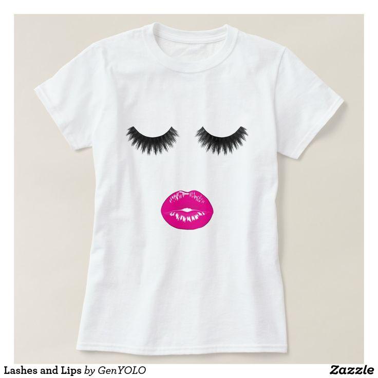 Lashes and Lips T-Shirt. Eyelashes, eyelashes makeup, eyelash curler