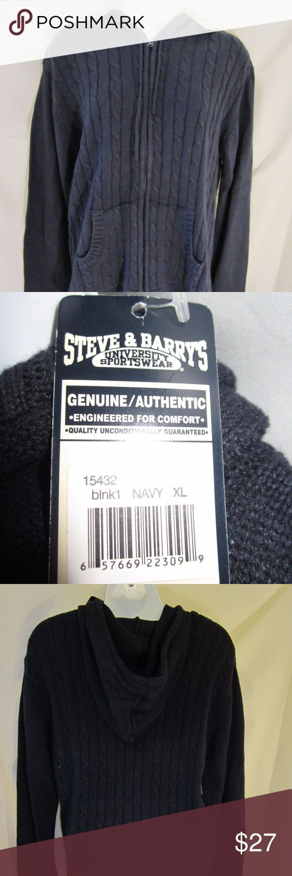 NWT Jr. Steve & Barry's Front Zip Hooded Sweater New w/Tags!!! Steve & Barry's University Sportswear.  Classic cable knit. Front zipper w/hoodie.  Navy blue color. Juniors's size XL but fits like a LARGE!!! Non-smoking home.  P4  I only offer clean, undamaged merchandise as stated in the description. Shipments are generally mailed within 48 hours of receipt of payment. Feedback is always given to my customers.   Thank you for looking. You won't be disappointed.  And remember to have a…