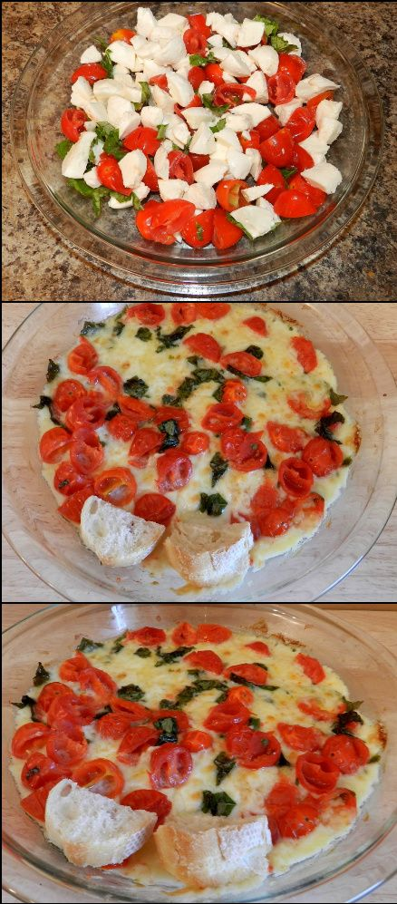 must try... Caprese Dip...Mozzarella, tomatoes and fresh basil. - So easy and delicious!!