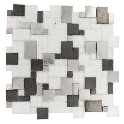 kitchen tile back splash - black and white