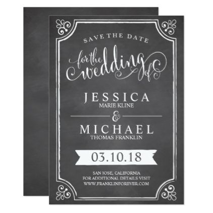 #Chalkboard Border Save the Date Card - #chalkboard #gifts