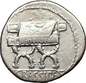 Roman Republic Crassipes Dictators, consuls chair 84BC Ancient Silver Coin Rare