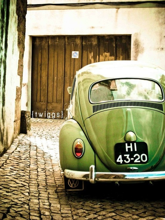 "#Etsy favorite.  I ought to buy this print, not only for the fact that is AWESOME, but also because it's been a dream of mine for a little while now to have a lime green ""old fashioned"" Volkswagen bug."