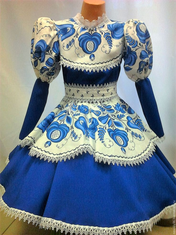 Купить Платье Гжель G2 - тёмно-синий, орнамент, гжель, хоровод, народный стиль