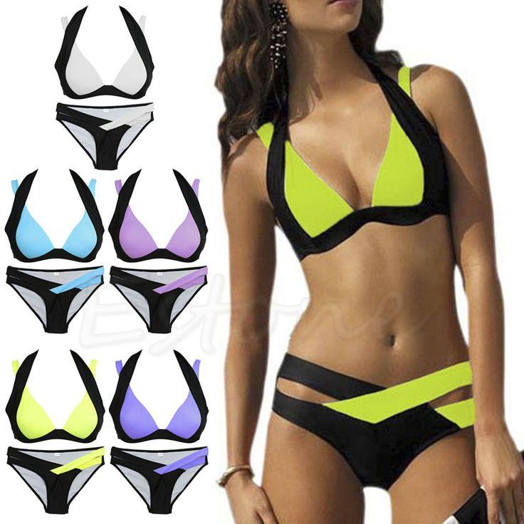 2017 Brand New Sexy Women Bikini Set Stroje Kąpielowe Bandaż Monokini Push Up Wyściełana Swimsuit Kostiumy Kąpielowe Kąpielowy Charm