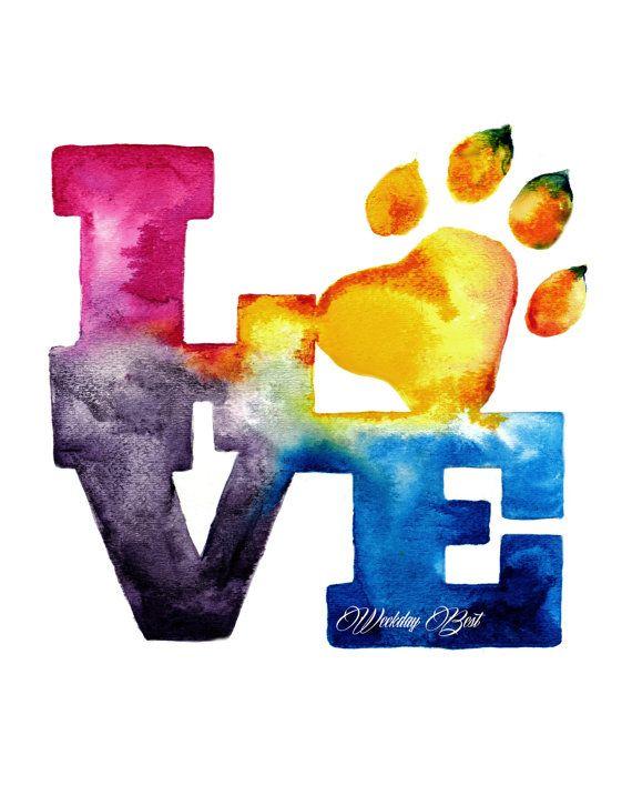 Colorful Pet LOVE watercolor Art Print of original by WeekdayBest