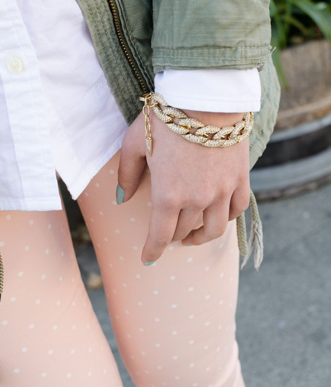 Peach Gap Polka Dot Pants, Cargo Jacket from H, and Stella and Dot bracelet
