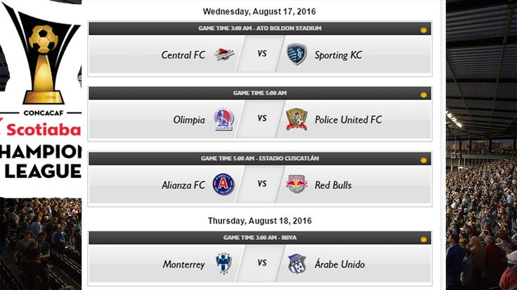 Week 2 Schedule | 2016–17 CONCACAF Champions League