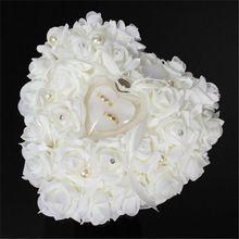 1 Pcs coração forma Rose flores caixa do anel de presente dia dos namorados romântico de casamento jóias Case portador de anel travesseiro almofada titular(Hong Kong)