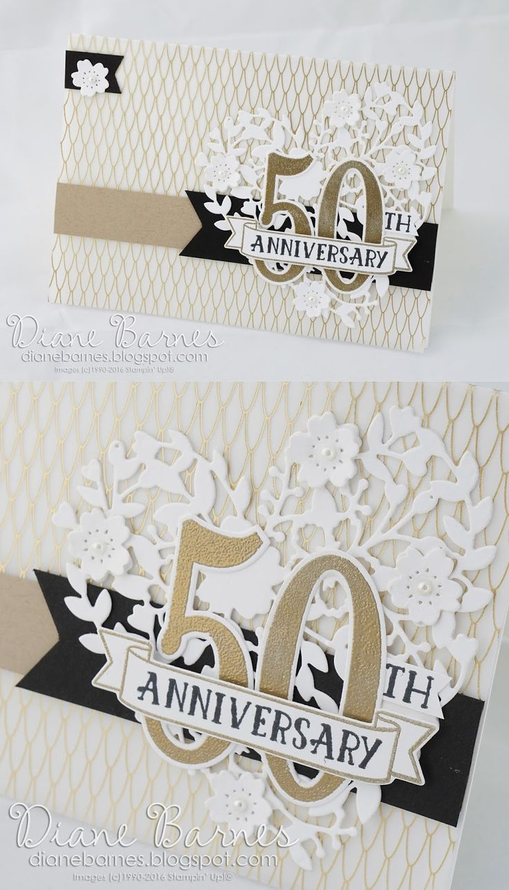 Elegant 50th Wedding Anniversary Card (easily Changed For A Special  Birthday) Using Stampin Up  Print Your Own Anniversary Card