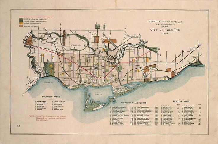 map via vintage Toronto